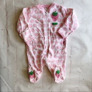 💐5/$25!💐Carters strawberry full zip footed pj NB